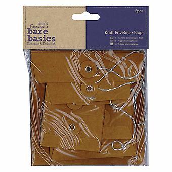 Papermania Bare Basics Kraft Envelope Bags Square Brown (6pcs) (PMA 174227)