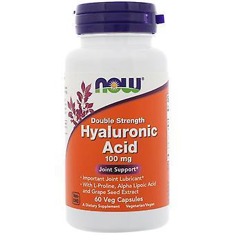 Nu voedingsmiddelen, hyaluronzuur, dubbele sterkte, 100 mg, 60 vegetarisch capsules