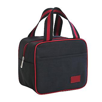 Draagbare geïsoleerde lunchbox tas zwart en rood 22x14.5x19cm