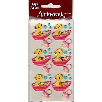 Baby Girl Rubber Duck In Bath Craft Embellishment By Artoz