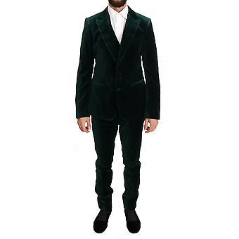 Dolce & Gabbana Yeşil Kadife İnce Fit İki Düğmeli Takım KOS1057-1