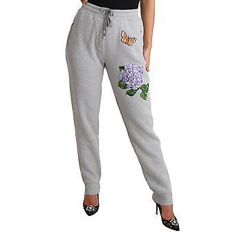 Dolce & Gabbana Gray Hydrangea Butterfly Jogger Pants PAN70073-46