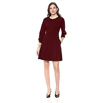 Brand - Lark & Ro Women's Gathered 3/4 Sleeve Crew Neck Fit and Flare Dress with Pockets, Port, 2