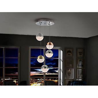 Schuller Sphere - Integrato LED Cluster Drop Ceiling Ciondolo Cromo, Ottone, Rame