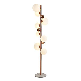 Floor Lamp, 8 x G9, Antique Copper, Opal & Copper Glass