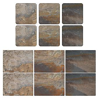 Pimpernel Earth Slate Design Placemats and Coasters Set of 6