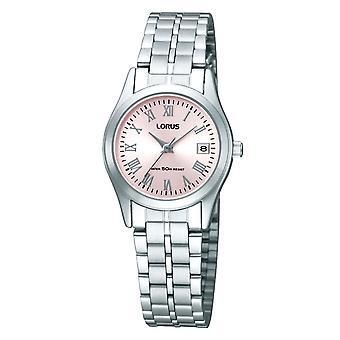 Lorus Ladies Edelstahl Armbanduhr mit rosa Zifferblatt (Modell Nr. RH731BX9)