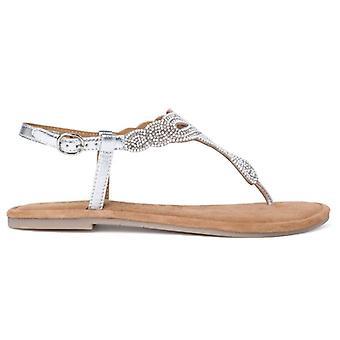 Tamaris Silber Perle Flip Flops Sandale mit Perlen