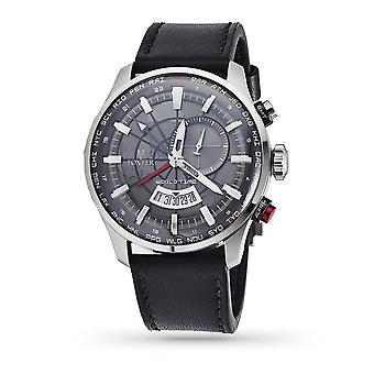 Men's watch Foxter Avalone black leather strap, steel case and grey background - FR6040C1BC1