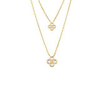 Gul blomma klöver CZ brudsmycken Guld Dubbelskikt halsband hänge
