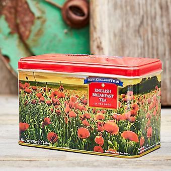 Poppy tea tin with 40 english breakfast teabags