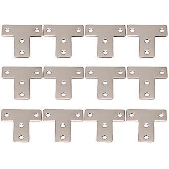 12 x Stainless Steel T Shaped Repair Plate Corner Repair Brackets 4x4 cm