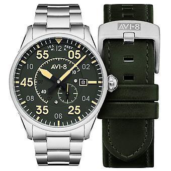 AVI-8 Spitfire Watch - Srebrny/Zielony