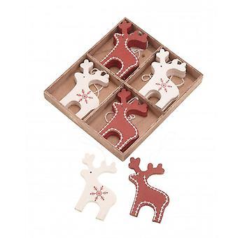 Christmas renar Tree dekorationer x 12 trä röd och grädde rådjur