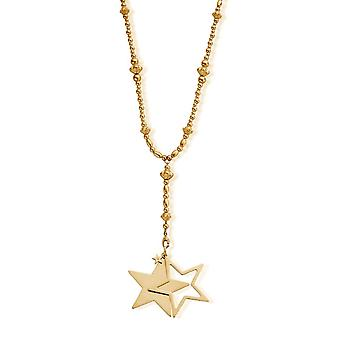 ChloBo GNF2580 Women's Gold Tone Fearless Necklace With Star Pendant