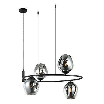 Moderne hangende hanghanger Zwart 4 Licht met Grafiet Rokerige Schaduw, E27