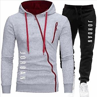 Männer's Herbst Winter Hoodie + Hose zwei Stücke Sets Casual Trainingsanzug Sportswear