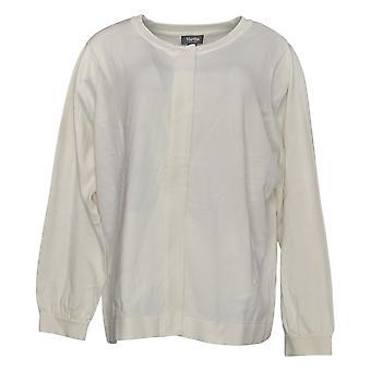 Martha Stewart Women's Sweater Zip-Front Crew Neck Ivory A368048