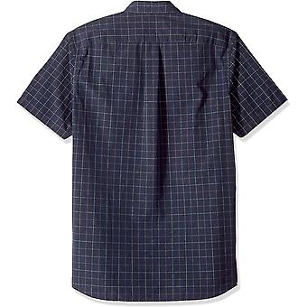 Goodthreads Men's Standard-Fit Short-Sleeve Plaid Poplin Shirt, -navy windowp...