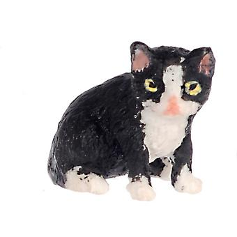 Dolls House Back Kitten White Socks Sitting Falcon Miniature Pet Cat 1:12