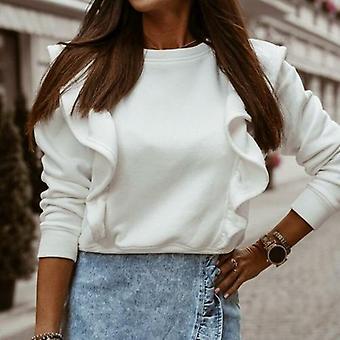 Lady Ruffle Tops Pullover Elegant O Neck Hoodies Sweat-shirt