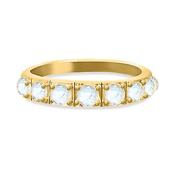 Ring Moonstone Band on 18K Gold