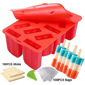 LERTREE 12-Cavity Frozen Ice Cream Pop Mold Silicone Popsicle Maker Lolly Mould with 100 Sticks