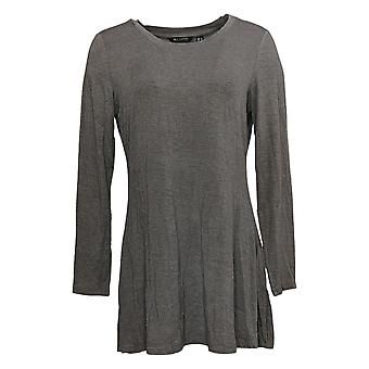 H par Halston Women's Top Essentials Scoop Neck Long Sleeve Gray A280700