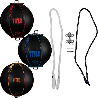 Title Boxing Retro Style Leather Double End Bag with Cables