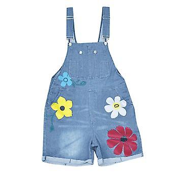 חליפות משחק מכנסיים קצרים סינר, פרח מודפס, ג'ינס Romper&s, מכנסי ג'ינס, ארוך
