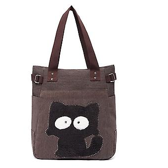 Cute Kittie Print Women Canvas Tote Casual Shoulder Work Bag