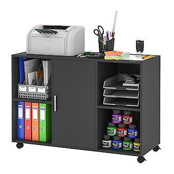 Vinsetto Mobile Office File Cabinet Printer Stand Unit With 360 Degree Casters Open Compartment Black