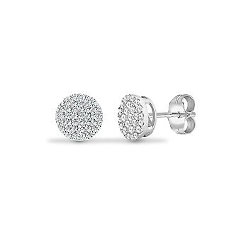 Jewelco Londres Solid 18ct ouro branco Pave Set rodada G SI 0.5 CT Diamond Disc cluster Stud brincos 8mm