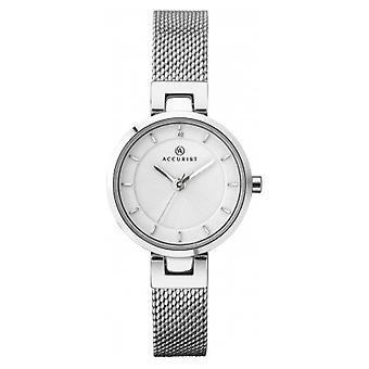 Accurist 8250 Milánske biele a strieborné dámske sieťovinové hodinky