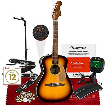 Fender 6 string acoustic-electric malibu player guitar, right, sunburst  from the california series with clip-on tuner, fender adjustable ps26727