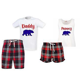 Tatínek Medvědí mumie Medvěd Tartan Vánoční krátké pyžamové páry Set