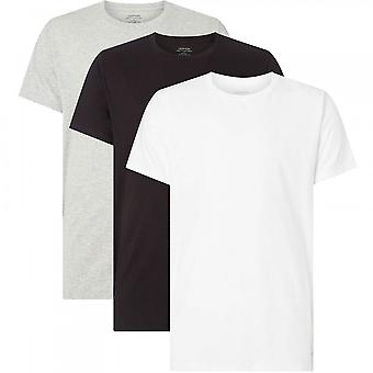 Calvin Klein Cotton 3-Pack Short Sleeved  Crew Neck T-Shirt, Black/White/Grey, Small