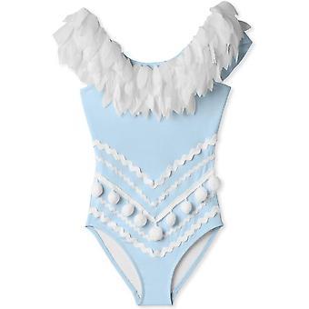 Modré nariasené plavky s okvetnými lístkami N Pom Poms