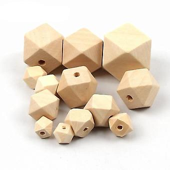 Geometric Natural Wooden Beads For Jewelry