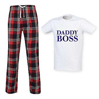 Mens Daddy Pomo Tartan Housu Pyjama Setti