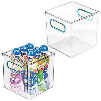 mDesign Plastic Kitchen Pantry Food Storage Bin met handgrepen, 2 pack, helder / blauw