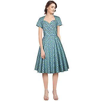 Tyylikäs tähtikääre retro mekko sininen / rkut