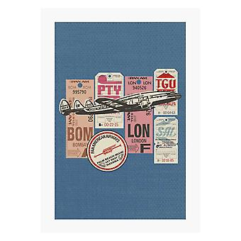 Pan Am Baggage Tags Montage A4 Print