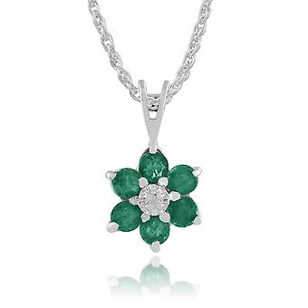 Floral Round Emerald & Diamond Cluster Pendant Necklace in 9ct White Gold 117P0625039