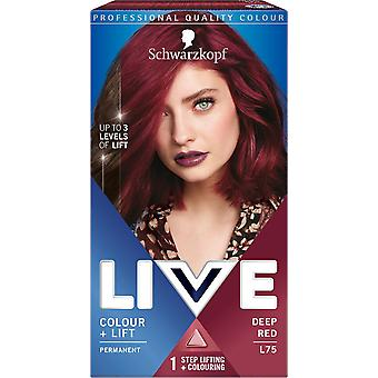 Schwarzkopf LIVE Colour + Lift L75 Deep Red Permanent Hair Dye x 3