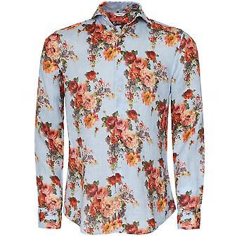 Stenstroms Slimline Linen Floral Shirt