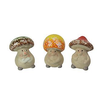 Set of 3 Ceramic Mushroom People Home Garden Accessories Lawn Figurines Decor