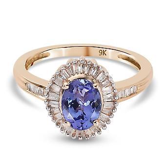 TJC Tanzanite Halo Ring 9K Gelbgold Jahrestagsgeschenk weiß Diamant 1,59ct