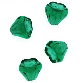 """חרוזי זכוכית צ'כית 5 מ""""מ X 6 מ""""מ פרח פעמון חרוזים אמרלד ירוק (15)"""