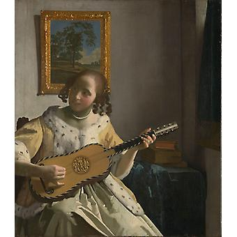 Young Woman Playing A Guitar,johannes Vermeer Art Reproduction.baroque Style Modern Hd Art Print Poster,canvas Prints Wall Art For Home Decor Pictures